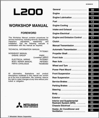 mitsubishi l200 pdf workshop manuals free download carmanualshub rh carmanualshub com mitsubishi l200 4d56 wiring diagram mitsubishi l200 electrical diagram