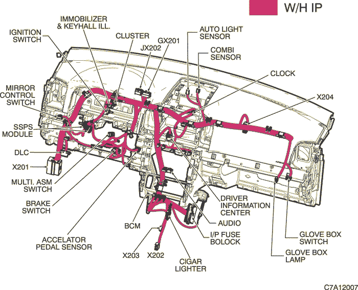Location Of Connectors And Joint Connections R / W Instrument Panel